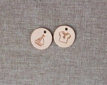 5pcs Rounded Leather Label, Leather Clothing Tag, Pendant Tag, Leather Tag,Natural Color, Sewing Label, Diameter 3cm, 2 modes available