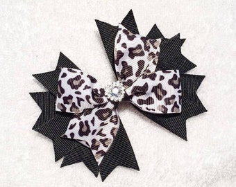 "Leopard Hair Bow - 4"" Stacked Boutique Pinwheel Bow on Lined Clip - Leopard Cheetah Print - Black, White, Taupe - Heart Embellishment"