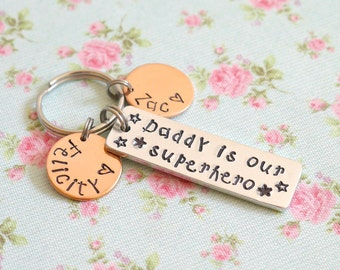 Personalised Gift from Children, Daddy is Our Superhero Keyring, Personalised, Gift for Grandad, Birthday Gift, For Dad, Childrens Names