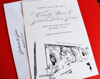 New York City Library Wedding Save the Date Cards, Save the Dates (set of 25 cards)