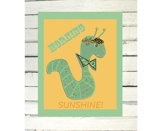 Printable Cute Worm Art For Kids Bedroom Decor / Morning Sunshine /  yellow / green / Fun Poster To Frame