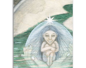 Sea Mother, Note Cards - Set of four 5x7 note cards - painting and poem by Claire