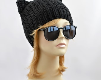 Hand Knitted Black Cat Hat, Knit Cat Ear Hat or Cat Beanie, Womens Cat Hat or Mens Cat Hat