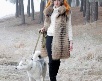 Real raccoon fur vest (long)