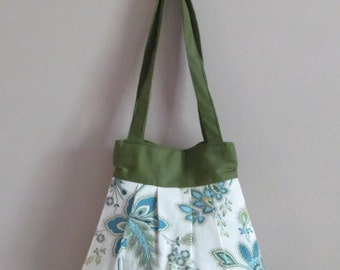 Over the Shoulder Pleated Handbag, Extra-small, Blue and Green Floral