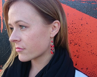 Handmade Huayruro Seed Earrings