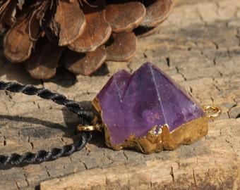 Amethyst Cluster Necklace , Amethyst Pendant,Raw  Amethyst Geode Pendant 335