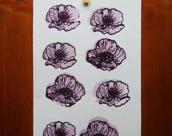 Floral screenprint   8 grid lavender poppies   vintage