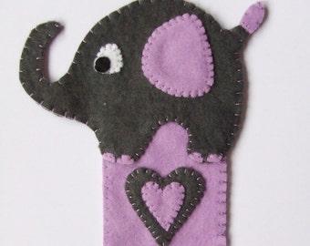 Handmade Felt Fabric Elephant Bookmark Lilac & Grey