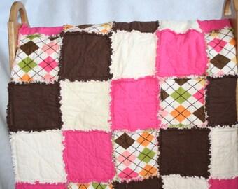 Pink, Orange, Brown Argyle Rag Quilt
