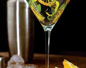 Lemon Twist Hand Painted Martini Glass