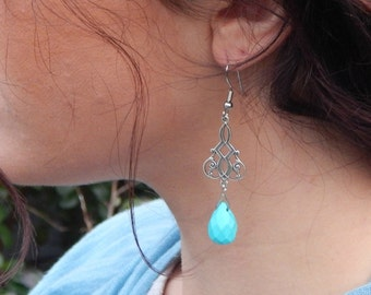 handcrafted brilliant blue chandelier earrings