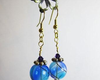 Beautiful, blue glass bead Earrings