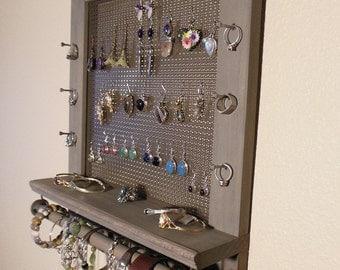 Weathered Gray Stained, Jewelry Organizer, Jewelry Holder, Wall Jewelry Organizer, Necklace Holder, Earring Organizer
