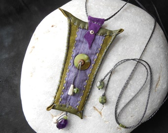 Leather Amulet 'together'- Silk, Sterling Silver, Amethyst & Peridot Gems, Mother of Pearl Button - Talisman Necklace - purple/green - boho
