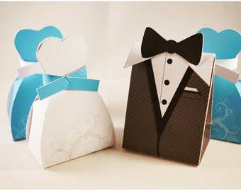 Wedding Bride, Groom and Bridesmaid Favor Boxes - Tuxedo and Gown Design Custom Color, gift box for guests