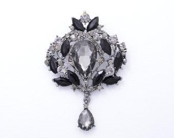 Black and Grey Rhinestone Brooch Bridal Wedding Brooch Black Wedding Accessories Black Brooch