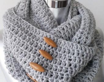 Scarf  Infinity Scarf  Knit Scarf Winter Scarf  Knit Gray Scarf Gray scarf cowl scarf Crochet infinity scarf women scarf infinity scarf