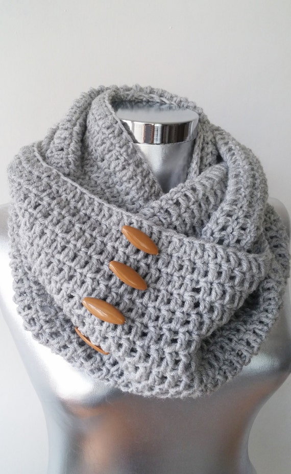 Infinity Scarf With Buttons Knitting Pattern : Knit Button Infinity Scarf Circle Scarf Winter by Scarfashion