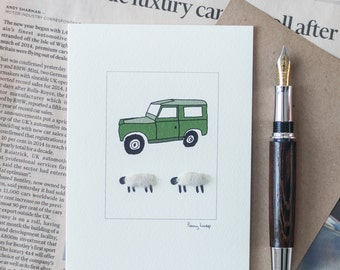 Land Rover and Sheep Greeting Card Sheep Card