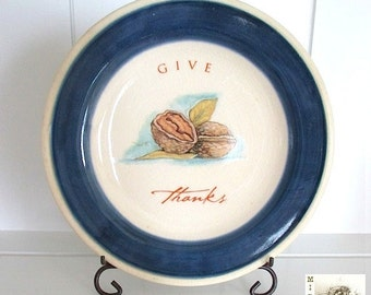 Thanksgiving Ceramic Plate, Autumn Decor, Fall Home Decor, Hand Painted Blue and Cream, Plate, 7 Inch Plate, Cottage Chic, Farmhouse Style