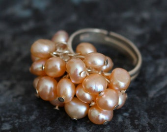 5.00 OFF! Pink freshwater pearl cluster ring