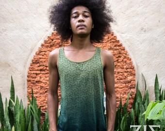 ZIZ Geoenisis / Men's Singlet / Jade Green / Organic Cotton Singlet / Natural Dye