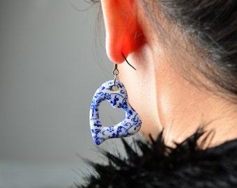 Blue and White Chinese Earrings Elegant Blue Earrings China Dangle Blue Earrings Blue China Earrings Blue China Blue Porcelain Earrings