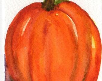 ACEO Original Pumpkin Watercolor Painting, art card, original watercolor painting of pumpkin, small pumpkin art, kitchen decor