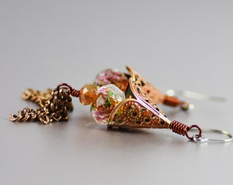 Hand-painted Rusty Orange Brown Patina Antiqued Brass Rose Flower Crystal Dangle Tassel Earrings