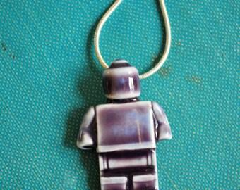 Minifigure -Lego Man Porcelain Necklace in Deep Violet