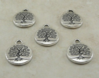 5 TierraCast Tree of Life Charms > Bodhi Zen Mother Earth Buddhist - Fine Silver Plated Lead Free Pewter - I ship Internationally 2303