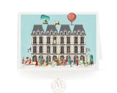 Christmas card, Paris, French, apartment houses, snow scene, street party, angel, deer, marie Antoinette, hot air balloon, holiday card