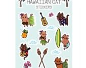 Hawaiian Kitty Cat Sticker Sheet