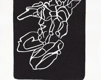 abstact torso, line figure, linocut, 5x7, Evolving, black on white hosho paper