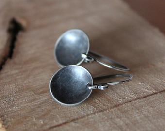 Wok - oxidized sterling silver earrings