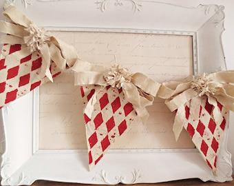 Valentine's Day Decor, Valentine's Day Banner, Vintage Valentine Banner, Valentine Garland, Shabby Chic Valentine, Vintage Christmas Decor