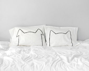 Bipetual Pillow case Set : wedding gift set cat lover gift, dog lover gift for women, gift for him, pet lover, couples gift set gift for her