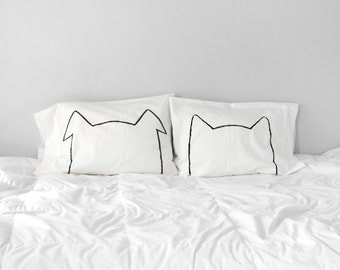 Bipetual Pillow case Set, cat lover gift, dog lover gift, gift for women, husband gift, couples gift, pet lover, teen girl gift, sister gift