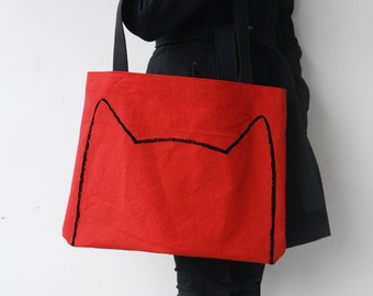Ruby Red Cat Tote Bag - 4th July bag - Screen Printed Over-sized bag - Cat Lover Gift - Oversized canvas tote bag - crazy cat lady beach bag