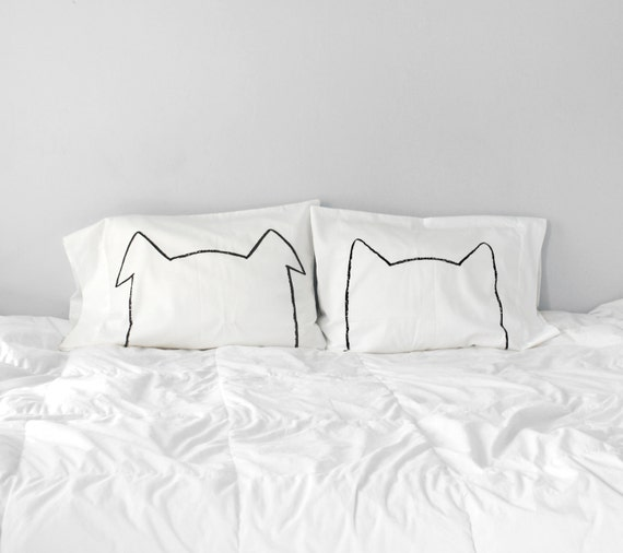 Cat & Dog Lover Gift, Bipetual Pillow case gift Set, couples gift set his hers pillowcase, gift for couples, pet lover, modern home decor