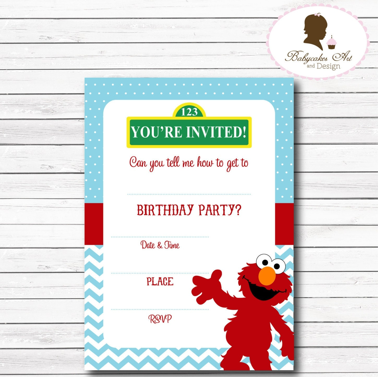 Instant Download Elmo Invitation Elmo 1st Birthday by BabycakesArt