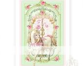 Carousel horse, print, custom print, pink, roses, mint green, nursery print, baby girl, home decor, horse, pony, digital print, giclee