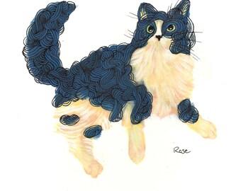 "Cat Art - Long Haired Cat Illustration Print - ""Spaghetti Cat"""