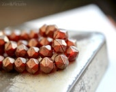 Glitz n Glamour - Czech Glass Beads, Burgundy Red, Gold Luster, English Cut, Facet Rounds 10mm - Pc 6