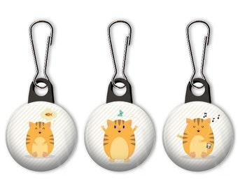 Cat zipper pull.  Cat charm.  Fat cat zipper pull.  Fun cat charm.