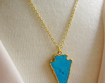Turquoise Arrowhead Necklace, Blue Pendant, Modern, Minimalist, Layering Necklace, Gold Necklace, Gardendiva