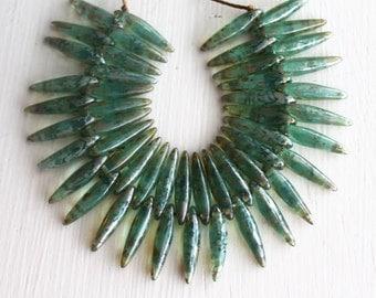 50  Aqua Picasso 4x15mm Czech Glass Thorn Beads