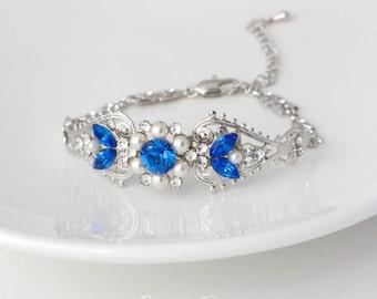 Sapphire Blue Crystal Bridal Cuff Bracelet Cobalt Blue Wedding Bracelet Rhinestone Pearl Bridal Vintage Blue Bridal Jewelry PARIS CUFF