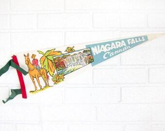 Vintage Niagara Falls Canada Felt Pennant - 1980s Niagara Falls Souvenir - Wall Decor Maple Leap Mountie